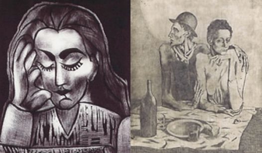 "These two etches by Pablo Picasso, ""Jacqueline Lisant"" and ""Le Repas Frugal,"" were stolen by Patmon in 2008."
