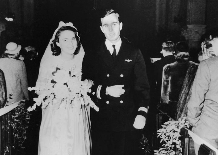 Barbara and George Bush on their wedding day in 1945.