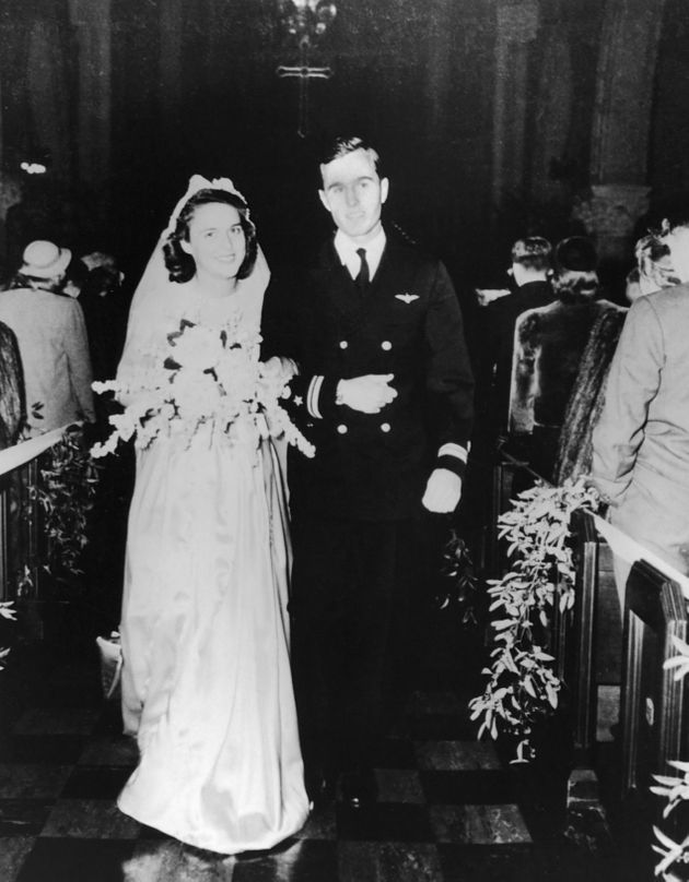 Barbara and George Bush on their wedding day in