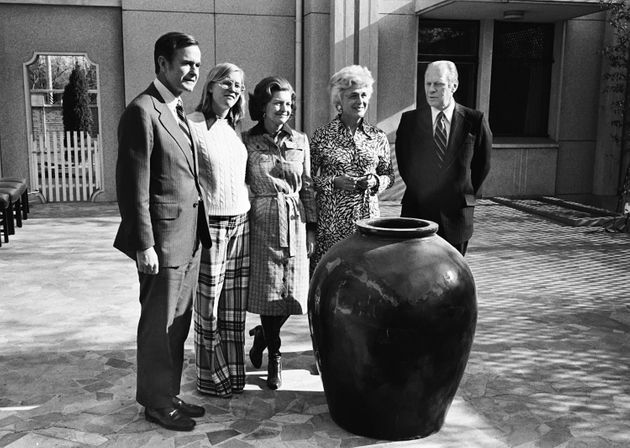 George H.W. Bush, then the U.S. envoy to China, with Susan Ford, Betty Ford, Barbara Bush and then-President...