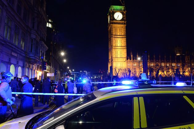 Police in Parliament Square, London, as a suspected unexploded Second World War bomb has been found in...