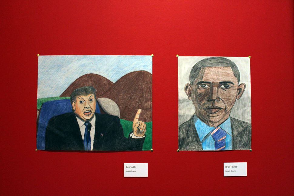 "(L) Sammy Ho's ""Donald Trump"" and (R) Brian Raines' ""Barack Obama."""