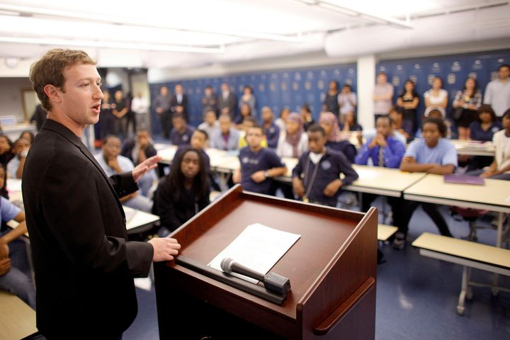 Mark Zuckerberg meets with an inner city class in Newark shortly after donating $100 million