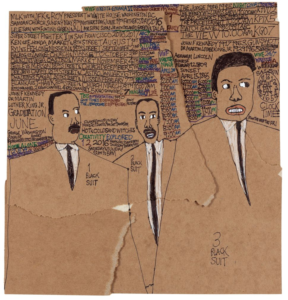 "Daniel Green, ""MLK with JFK and Roy,"" 2016, marker on paper, 14.25 x 13.5 inches"