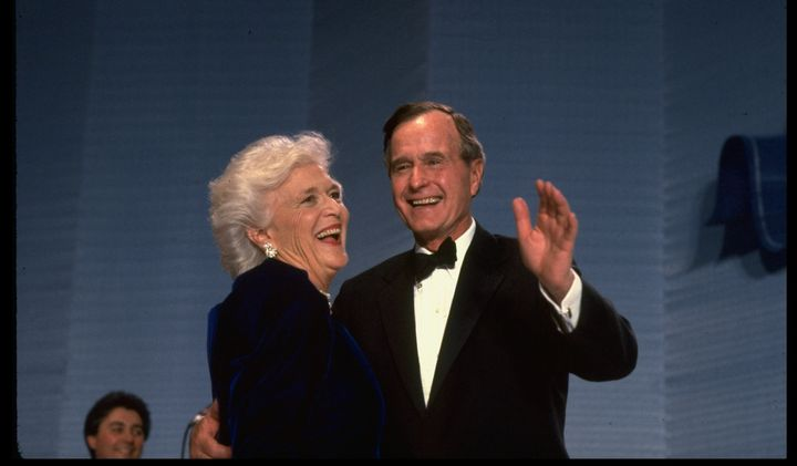 Barbara and George Bush dance at an inaugural ball.