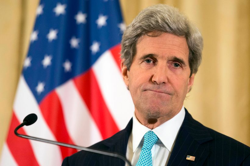 Secretary of State John Kerry takes a question on the peace process at a March 30, 2014 news conference in Paris.