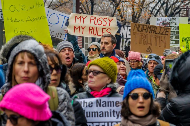 Women and allies march in New York on Dec. 12, 2016.