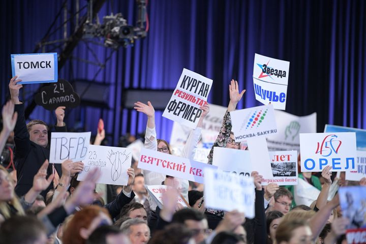 Journalists at an annual news conference by Russia's President Vladimir Putin. The yearly event features over a thousand jour