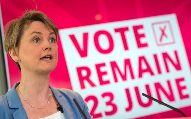 Yvette Cooper speaks during a press conference in central London during the EU referendum
