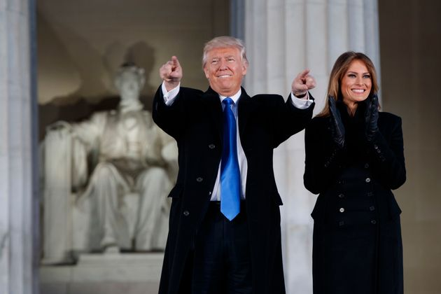 President-elect Donald Trump, left, and his wife Melania Trump arrive to the