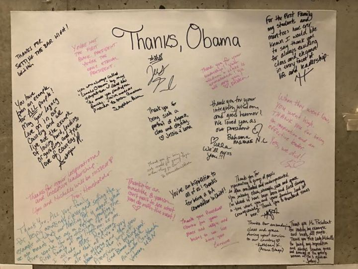 Well-wishers left notes of appreciation to President Obama at the Washington event.