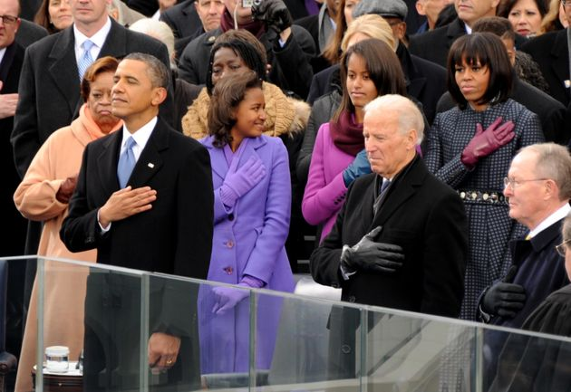Barack Obama during the National Anthem at the inauguration ceremonies at the U.S. Capitol in Washington...
