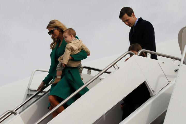 Ivanka Trump, husband Jared and their children arrive at Joint Base Andrews in Maryland on Thursday for inaugural weekend.