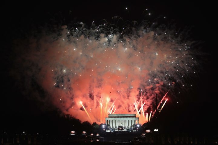 Fireworks explode following an inauguration celebration for President-elect Donald Trump at the Lincoln Memorial on Thursday.
