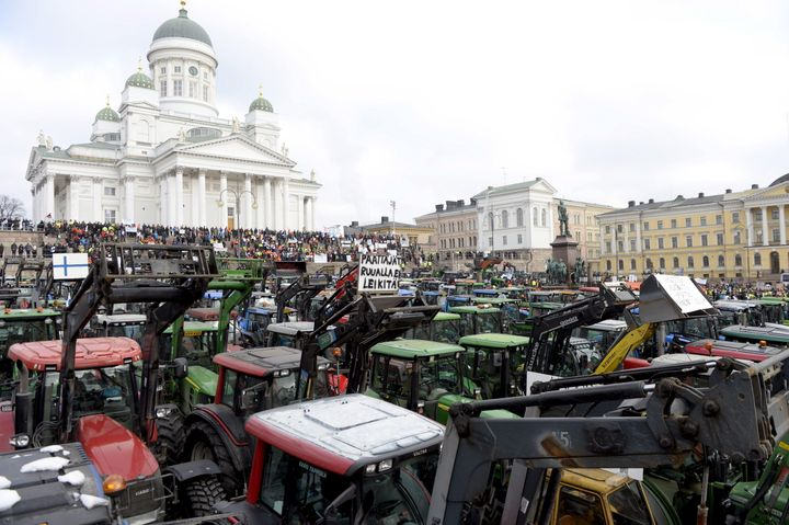 Farmers from different parts of Finland with their tractors participate in a demonstration over declining agricultural earnin