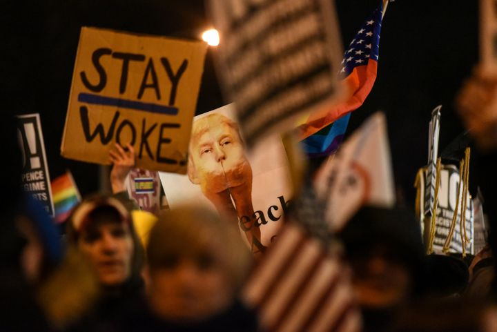 Thousands gathered near Trump Tower in New York City on Thursday to protest the incoming president.