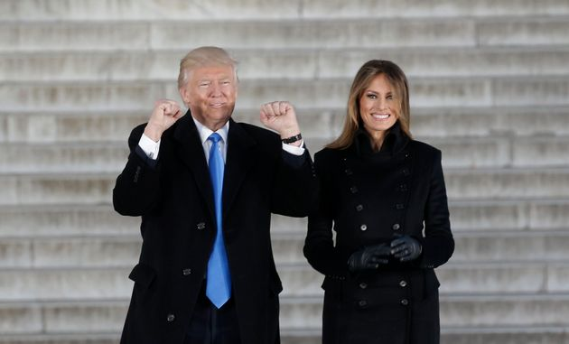 Donald Trump with his wife Melania at the Make America Great Again! Welcome Celebration at the Lincoln...