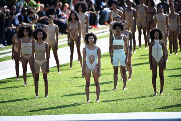 Models pose on the runway at the Kanye West Yeezy Season 4 fashion show on 7 September 2016 in New York...