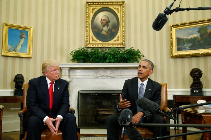U.S. President Barack Obama (R) meets with President-elect Donald Trump to discuss transition plans in the White House Oval O