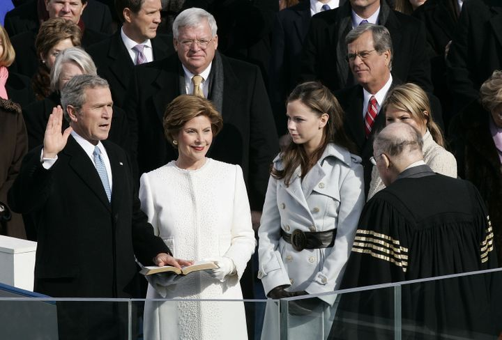 Laura Bush at her husband's second inauguration on Jan. 20, 2005.
