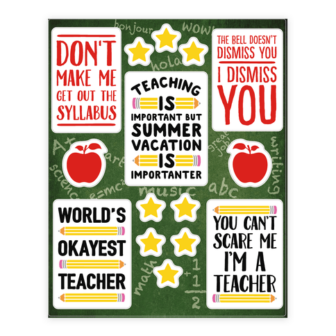 "$19, <a href=""https://www.lookhuman.com/design/94020-sassy-teacher/sticker"" target=""_blank"">LookHuman</a>"