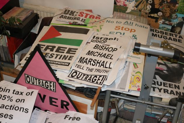The posters that take up a large part of Peter Tatchell's living