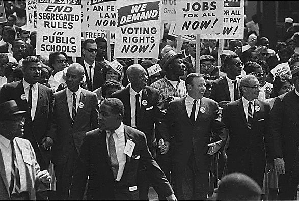 <em>The March on Washington participants and leaders marching from the Washington Monument to the Lincoln Memorial</em>