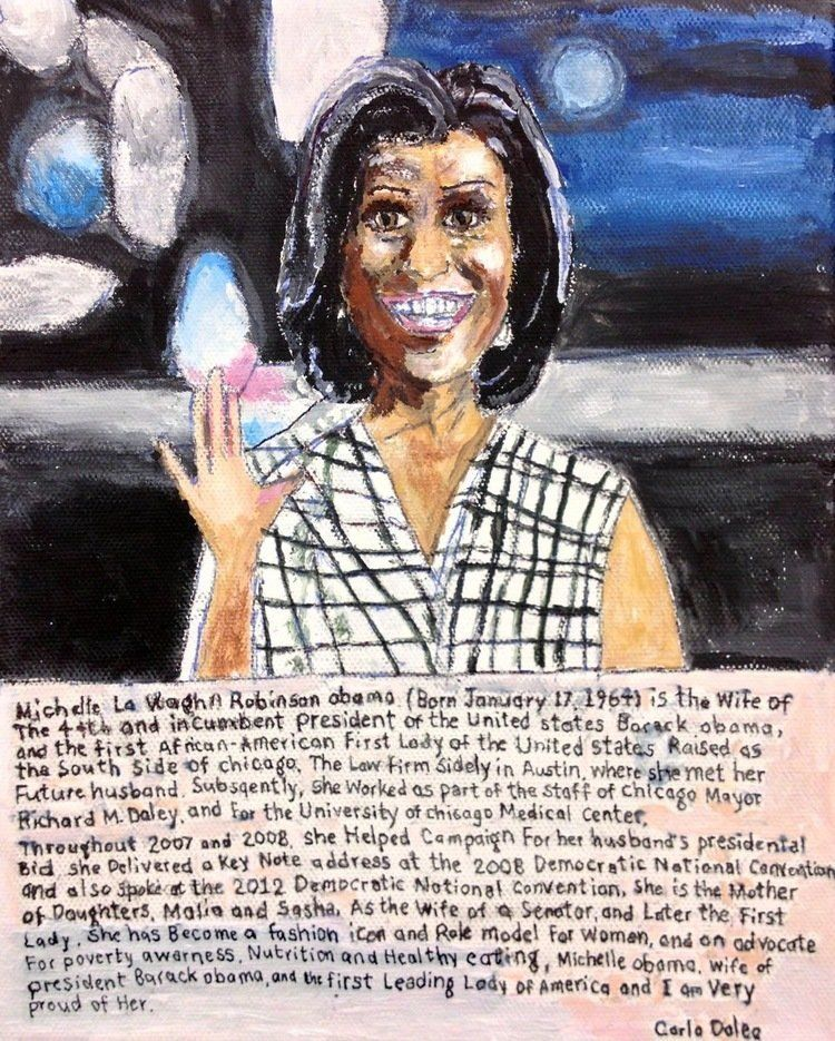 "Carlo Daleo, ""Michelle Obama,"" 2012, acrylic On Canvas Board, 20 x 18 inches"