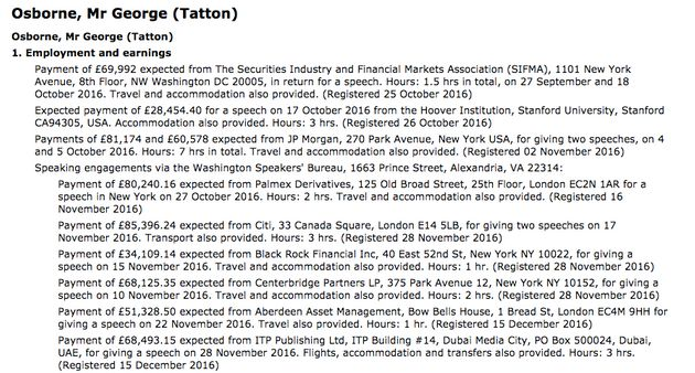 Osborne's current Register of MP's Interests - before his new post