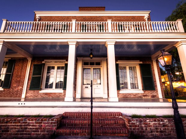 Brickface front of most haunted house in America.  the Whaley House