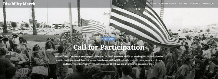 A screen grab from the Disability March's homepage.