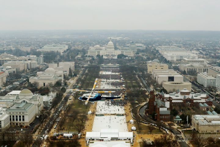 An aerial view of Donald Trump's inauguration.