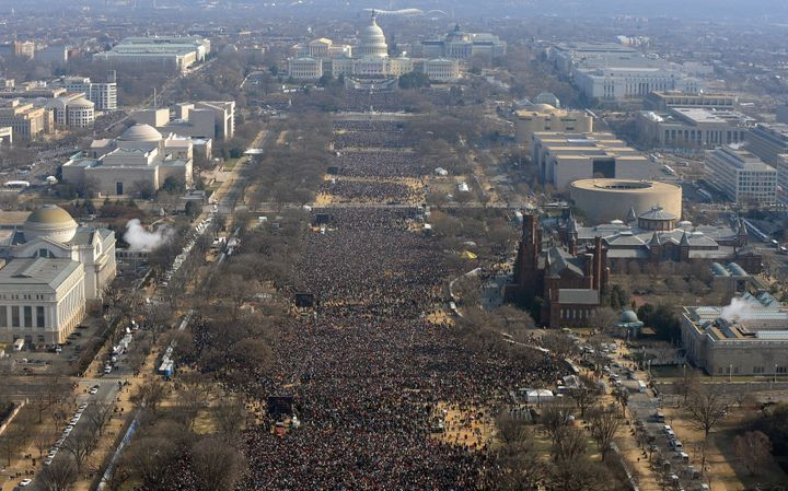 The scene on the National Mall during Barack Obama's first inauguration.