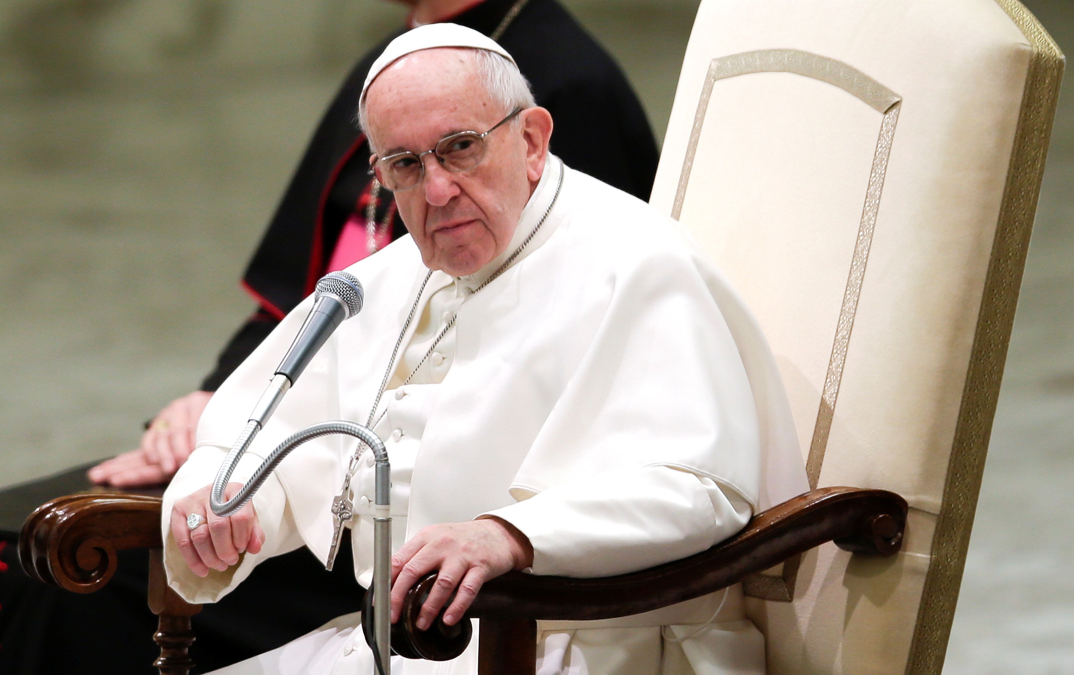 Pope Francis leads the weekly audience in Paul VI hall at the Vatican January 18,