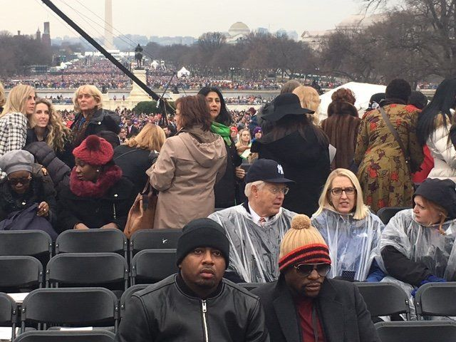 Floyd Mayweather (front right)told TMZ in November that he planned to attend Trump's inauguration.
