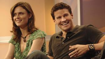 Emily Deschanel and David Boreanaz of the new FOX drama BONES answers questions from the television critics during the opening session of FOX's Summer Press Tour Thursday, July 28 at the Beverly Hilton in Beverly Hills, CA. 2005 FOX BROADCASTING COMPANY. (Photo by Ray Mickshaw/WireImage)