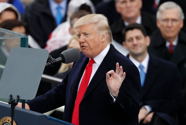 Donald Trump speaks after being sworn in as the 45th president of the United States.