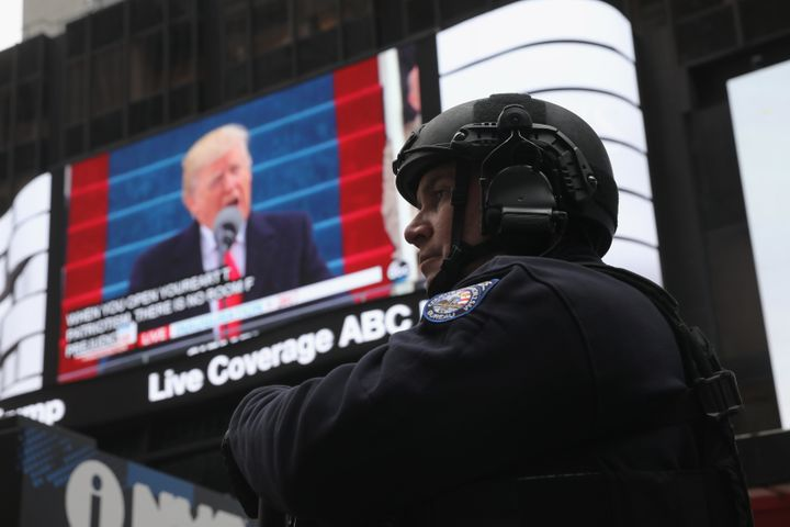 A policeman stands guard during the televised inauguration of Donald Trump as the 45th president of the United States, Jan. 2