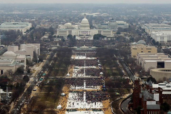 The view of the National Mall from above during President Donald Trump's inauguration ceremony.