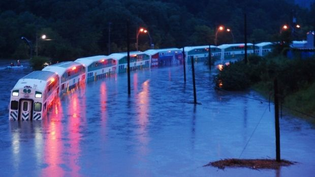 Government of Ontario train stuck in flood near Toronto.