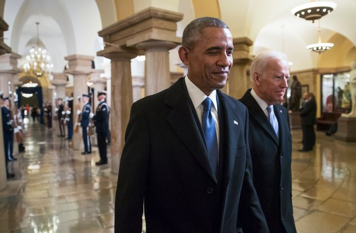 President Barack Obama and Vice President Joe Biden walk through the Crypt of the Capitol for Donald Trump's inauguration.
