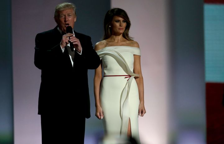 Melania Trump Wears A White Off-The-Shoulder Gown To The Inaugural ...