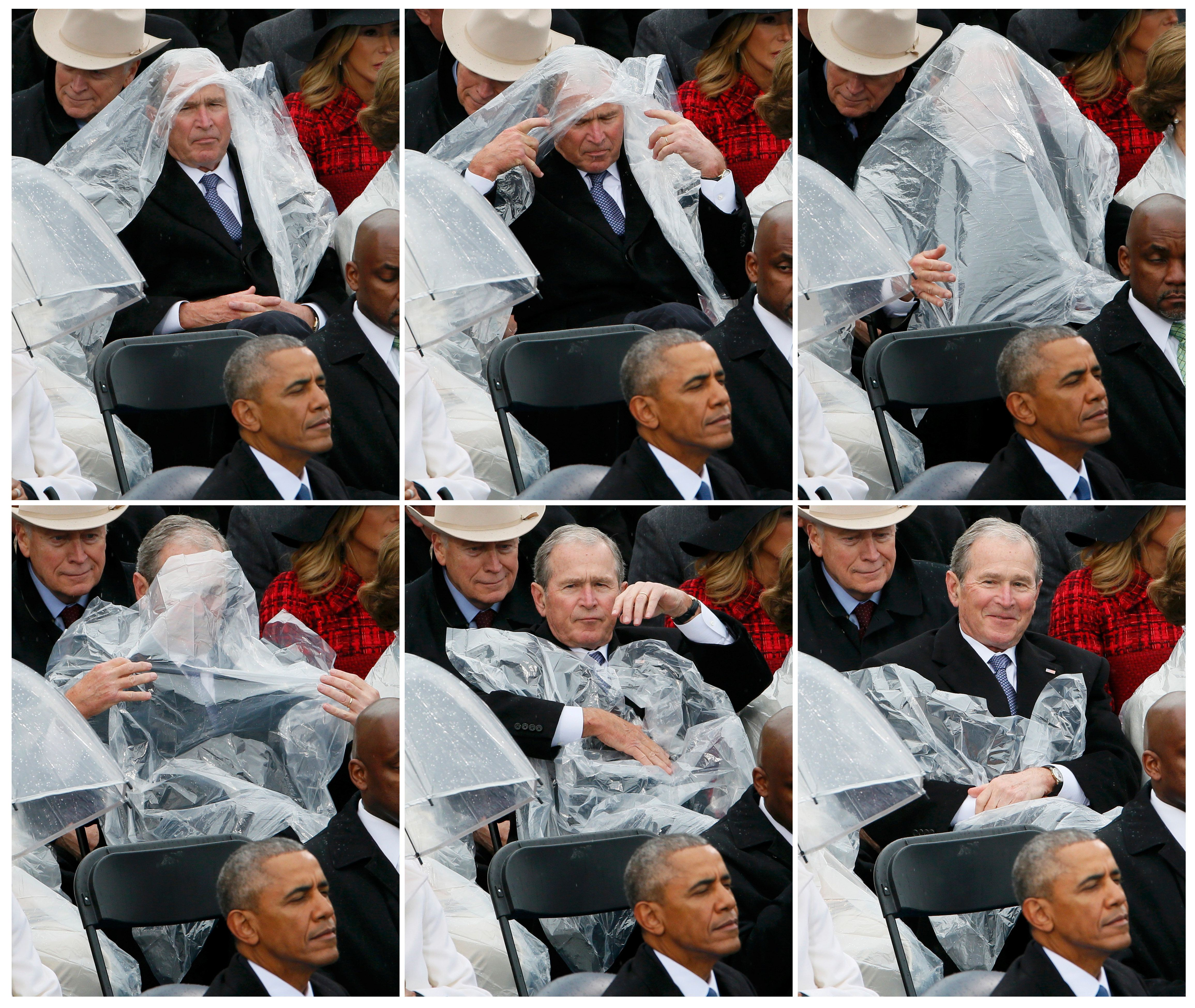 Redditors gave these images of former President George W. Bush using a plastic sheet to deal with the rain at President Donal
