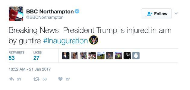 BBC Northampton Twitter Account Issues Donald Trump Shot Tweet After