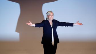 France's National Front leader Marine Le Pen gestures after her speech during a European far-right leaders meeting to discuss about the European Union, in Koblenz, Germany, January 21, 2017.    REUTERS/Wolfgang Rattay