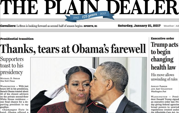 The Newsweum featured this front page for the Cleveland Plain Dealer