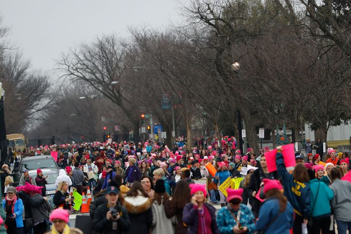 Protesters gather during the Women's March on Washington.