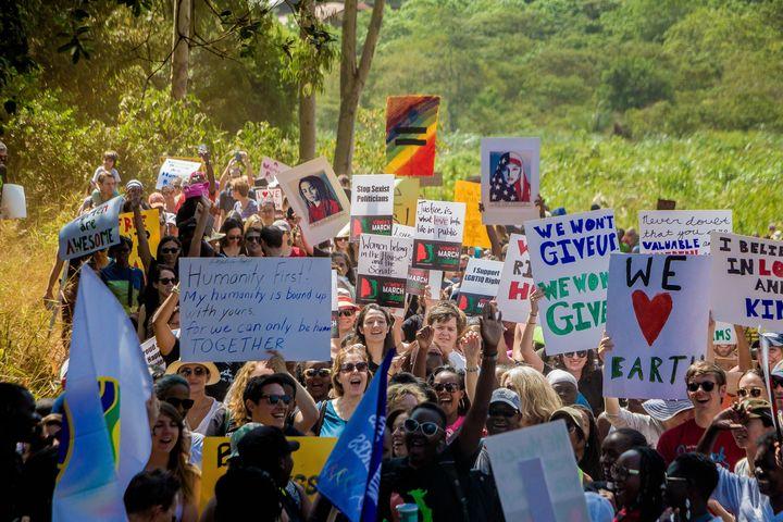 Demonstrators rally at Karura Forest in Nairobi, Kenya, onSaturday.
