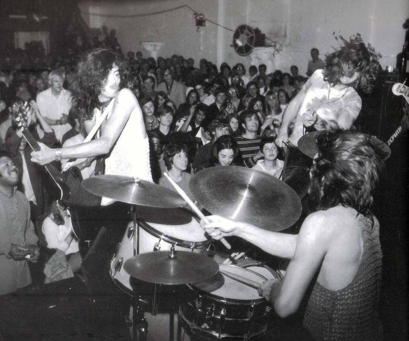 Led Zeppelin in 1969 at at the Boston Tea Party during their first U.S. tour. WBCN announcer (and later MTV VJ) J.J. Jackson