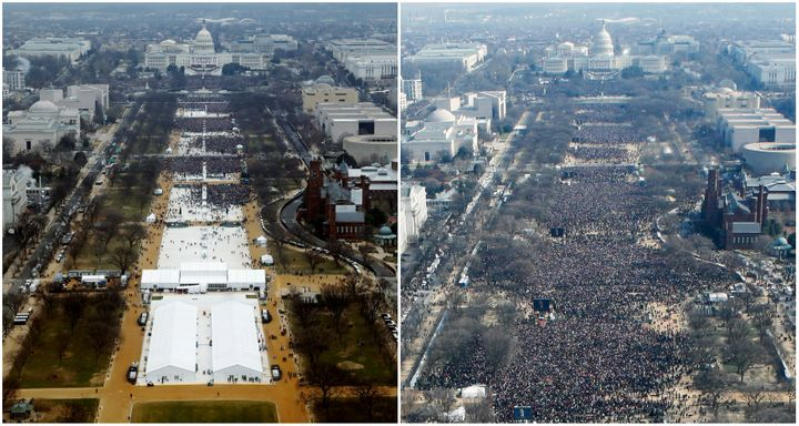 A combination of photos taken at the National Mall shows the crowds attending the inauguration ceremonies to swear in Preside